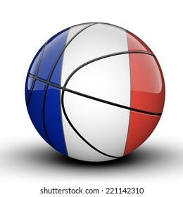 Glossy Saint Martin (France) basketball ball flag isolated on white background
