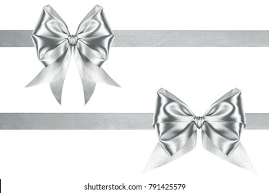 Glossy satin silver two ribbons and bows on a white background