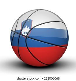Glossy Slovenia basketball ball flag isolated on white background