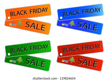 Glossy Sticker in Blue, Red, Green and Orange Colors with Black Friday Sale Wording, Sign for Start Christmas Shopping Season.