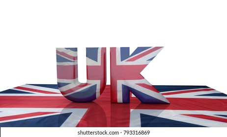 "Glossy text ""UK"" on a Union Jack flag. 3d rendering."