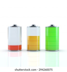 Glossy transparent battery charge indicator. 3d render on white background conceptual design