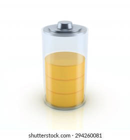 Glossy transparent battery charge indicator. 3d render on white background conceptual design, Half Battery.
