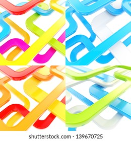 Glossy tube line as abstract composition background, set of four