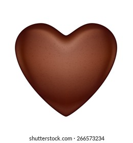 Glossy vector chocolate heart bonbon. Good for Valentine' day design.