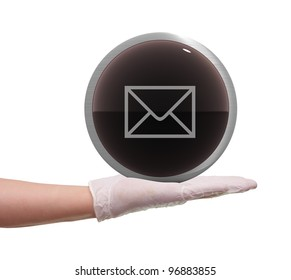 glossy web button in hand