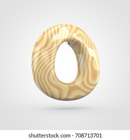 Glossy wooden letter O uppercase. 3D render pinewood font with glint and light reflection isolated on white background.