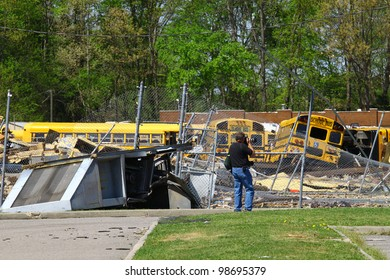 GLOUCESTER - APRIL 16: A Tornado hits the Page Middle School Bus garage in White Marsh April. 16, 2011 in Gloucester Virginia