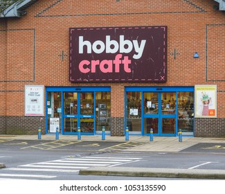 Gloucester, England - March 13, 2018: Hobby Craft Store Entrance, popular home craft store, horizontal photography