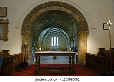Gloucester, Gloucestershire, UK, August 11th, 2018, St Mary de Lode, this is a Grade 1 listed building, looking towards the alter. This Church is mentioned in the Domesday book in 1085.