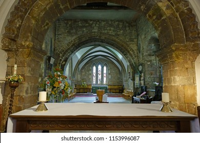 Gloucester, Gloucestershire, UK, August 11th, 2018, St Mary de Lode, this is a Grade 1 listed building, looking towards the alter showing the lack of symmetry between the arches.