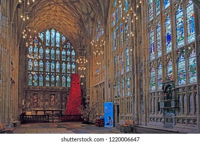 Gloucester, Gloucestershire, UK, November 1st, 2018, the GCHQ Poppy waterfall appeal on display in Lady Chapel, Gloucester Cathedral, consisting of 9000 hand made wollen/fabric poppies.