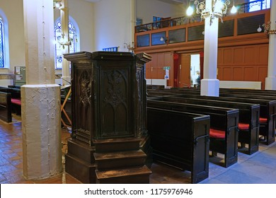 Gloucester, Gloucestershire, UK, September 8th, 2018, St Mary de Lode is a Grade 1 listed building and is believed to have been built on the site of an ancient Roman temple, a view of the Tudor pulpit