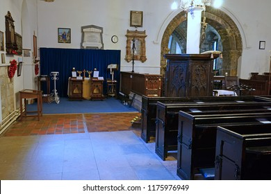 Gloucester, Gloucestershire, UK, September 8th, 2018, St Mary de Lode, looking towards the Tudor pulpit and the east aisle of the Church.