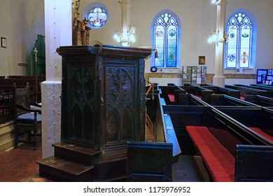 Gloucester, Gloucestershire, UK, September 8th, 2018, St Mary de Lode  is believed to have been built on the site of an ancient Roman temple, a view of the 15th century Tudor pulpit with Tudor Rose.