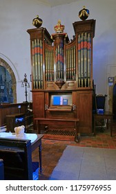 Gloucester, Gloucestershire, UK, September 8th, 2018, St Mary de Lode the Organ was built in 1760 and every part of the internal working were refurbished in 2004, tradition is that Handel played on it