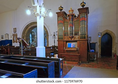 Gloucester, Gloucestershire, UK, September 8th 2018, St Mary de Lode is Grade 1 listed, the Organ was built in 1760 and every part of the bellows, pipes and keyboards were repaired or replaced in 2004