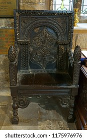 Gloucester, Gloucestershire, UK, September 8th, 2018, St Mary de Lode is a Grade 1 listed building, a beautifully hand carved Tudor chair sits near the alter.