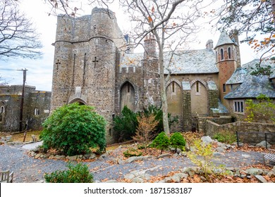 Gloucester, MA, USA: 11-15-2020: Hammond castle exterior in fall fron view
