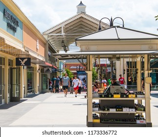 Gloucester, New Jersey - August 18, 2018: View of the Gloucester Premium Outlet Mall, an outdoor mall, on this date