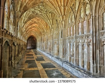 gloucester uk april 17 2019 fan vaulting of the cloisters at gloucester cathedral, known to be the earliest example in england. built to house the monks in 1412.