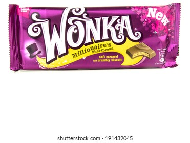 GLOUCESTER, UK - MAY 4, 2014: Wonka Chocolate Bar, Millionaire's Shortbread - on a white background