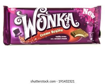GLOUCESTER, UK - MAY 4, 2014: Wonka Chocolate Bar, Creme Brulee - on a white background