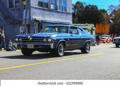 GLOUCESTER, VA - April 1, 2017: A Blue 1969 Chevrolet Chevelle SS-396 in the 31st annual Daffodil fest and parade, The Daffodil fest and Parade is a regular event each spring in April