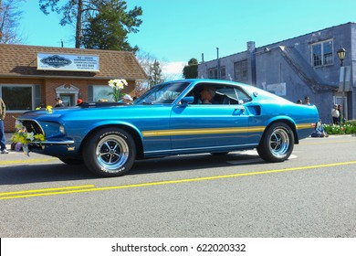 GLOUCESTER, VA - April 1, 2017: A 1969 Ford Mach 1 Mustang 351 in the 31st annual Daffodil fest and parade, The Daffodil fest and Parade is a regular event each spring in April