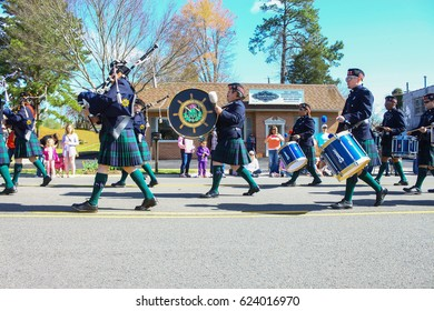 GLOUCESTER, VA - April 1, 2017: The Newport News police P&D marching in the 31st annual Daffodil fest and parade, The Daffodil fest and Parade is a regular event each spring in April