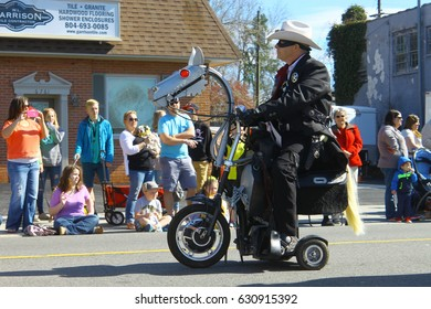 GLOUCESTER, VA - April 1, 2017: Gloucester Hatton Cross Steampunk in the 31st annual Daffodil fest and parade, The Daffodil fest and Parade is a regular event each spring in April