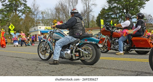 GLOUCESTER, VA - April 11, 2015: Hampton Roads Harley Davidson club for Beyond Boobs at the 29th annual Daffodil fest and parade, The Daffodil fest and Parade is a regular event held each spring