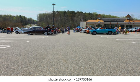 GLOUCESTER, VA - April 12, 2014:  The Spring 2014 Daffodil car show sponsored by the MPCC car club, the show is a regular event held each spring after the Daffodil fest and parade