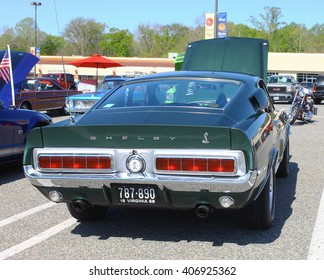 GLOUCESTER, VA - April 16, 2016: A 1968 Ford Shelby Cobra GT-350 Mustang at the Daffodil car show, the Daffodil car show is held once each year after the Daffodil parade and festival.