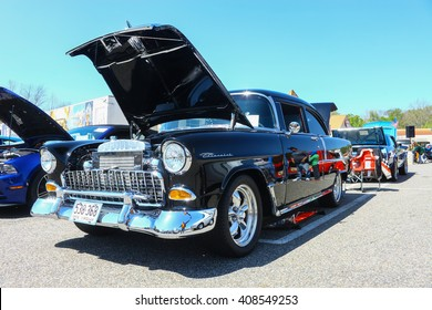 GLOUCESTER, VA - April 16, 2016: A black 1955 Chevrolet Belair at the Daffodil car show with different lighting, the Daffodil car show is held once each year after the  Daffodil parade and festival.