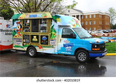 GLOUCESTER, VA - April 2, 2016: A mobile Kona Ice distributor at the 30th annual Daffodil fest and parade, The Daffodil fest and Parade is a regular event held each spring