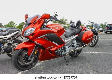 GLOUCESTER, VA - April 30, 2016: A Yamaha FJR motorcycle at the 2nd Run for the  Motorcycle show, the Run for the Son Motorcycle show is Sponsored by Jaxwax and is held each year.