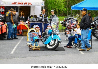 GLOUCESTER, VA - April 30, 2016: A 1946 Indian Chief motorcycle   at the 2nd Run for the Son Motorcycle show, the Run for the Son Motorcycle show is Sponsored by  Jaxwax and is held each year.