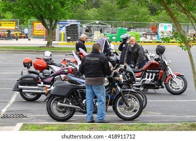 GLOUCESTER, VA - April 30, 2016: Triumph motorcycles and the owner, riders of them  at the 2nd Run for the Son Motorcycle show, the Motorcycle show is Sponsored by Jaxwax and is held each year.