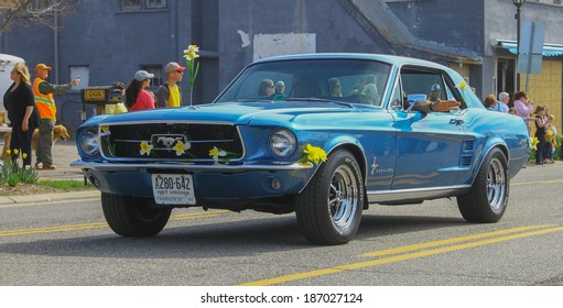 GLOUCESTER, VA - April 5, 2014: 28th annual Daffodil parade, A Blue 1967 Ford Mustang  from the MPCC club , The Daffodil fest and Parade is a regular event held each spring