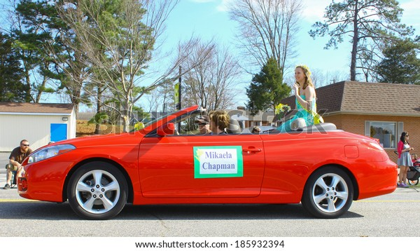 GLOUCESTER, VA - April 5, 2014: Introducing the arrival of Daffodil Princess Mikaela Chapman, The Daffodil fest and Parade is a regular event held each spring