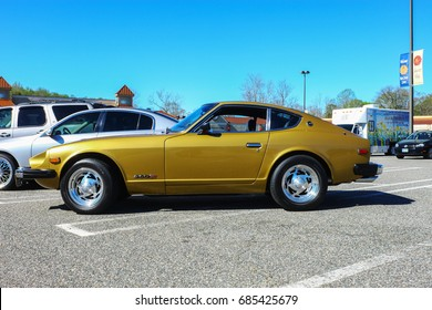 GLOUCESTER, VA - April 8, 2017: A gold Datsun 260Z at the daffodil car show, the Daffodil car show is held once each year after the Daffodil parade and festival.