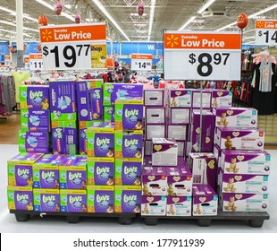 GLOUCESTER, VA - FEBRUARY 13: LUVS diapers on display for sale at Walmart, Luvs is a brand of disposable diapers made by Procter & Gamble which also is the maker of Pampers disposable diapers.