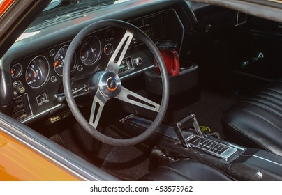 GLOUCESTER, VA - JULY 9, 2016: A 1971 Chevrolet Chevelle interior at the Collector Car Appreciation Day Car Show sponsored by the Middle Peninsula Classic Cruisers car club.