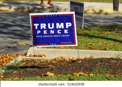 GLOUCESTER, VA - NOVEMBER 8, 2016: A Trump Pence Campaign sign at the Botetourt polling place for voting for President, Vice President for 2016 as well as congress and local constitutional amendments