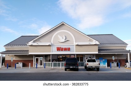 GLOUCESTER, VIRGINIA - FEBRUARY 11, 2016:A Wawa convenience store, Wawa Inc.is a chain of convenience store/gas stations along the East Coast of the United States Operating in PA, NJ, DE, MD, VA, & FL