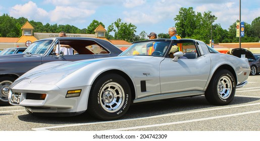 GLOUCESTER, VIRGINIA - JULY 12, 2014: A Chevrolet Corvette Stingray in the Blast  from the PAST CAR SHOW,The Blast From the Past car show is held once each year in July in Gloucester Virginia.