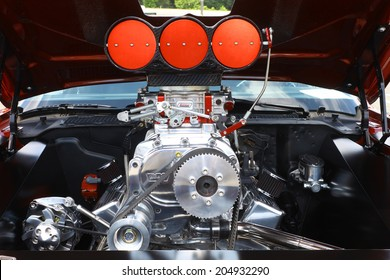 GLOUCESTER, VIRGINIA - JULY 12, 2014:A Supercharged 79 Chevy Camaro engine in the Blast from the PAST CAR SHOW,The Blast From the Past car show is held once each year in July in Gloucester Virginia.