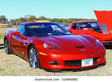 GLOUCESTER, VIRGINIA - NOVEMBER 12, 2016: A burgundy Chevrolet Corvette in the annual Shop With a Cop Car Show held once each year to help benefit needy children of Gloucester for Christmas.