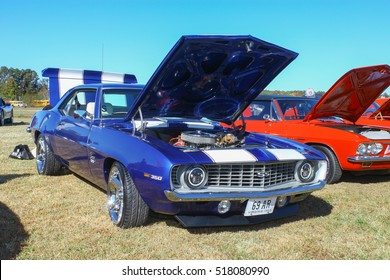 GLOUCESTER, VIRGINIA - NOVEMBER 12, 2016: A 1969 Chevrolet Camaro SS in the annual Shop With a Cop Car Show held once each year to help benefit needy children of Gloucester for Christmas